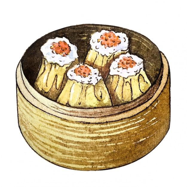 Dim sum akwarela azjatyckie jedzenie Premium Zdjęcia