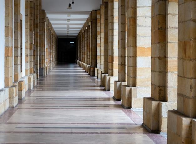 Długie Przejście Przez Wiele Kolumn, Efekt Nieskończoności. Detale Architektoniczne Budynków. Premium Zdjęcia