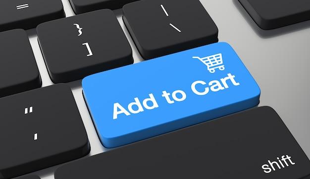 Dodaj Do Koszyka Przycisk Klawiatury. Zakupy Online Koncepcja Premium Zdjęcia