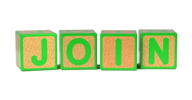 Dołącz Na Blok Kolorowy Alfabet Drewniane Dla Dzieci Na Białym Tle. Premium Zdjęcia