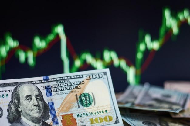 Dolar amerykański rachunki na tle z dynamiką kursy walut. pojęcie ryzyka handlowego i finansowego Premium Zdjęcia