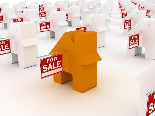 Dom Kolorowy Na Sprzedaż, Renderowanie 3d Premium Zdjęcia