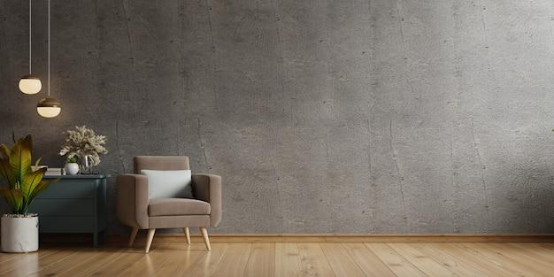 Dom W Stylu Loftu Z Fotelem I Akcesoriami W Pokoju. Renderowanie 3d Premium Zdjęcia