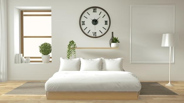 Domowa ściana Wewnętrzna Makieta Z Drewnianym łóżkiem, Zasłonami I Dekoracją W Stylu Japońskim W Sypialni Zen Premium Zdjęcia