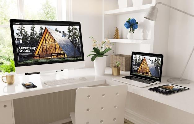 Domowe Biuro Utworzone Z Responsywną Witryną Internetową Architec Studio Renderowania 3d Premium Zdjęcia