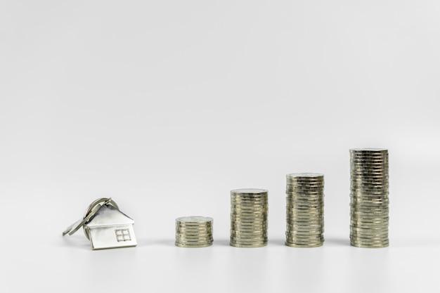 Domowy model i klucz w domu z rzędem menniczy pieniądze na białym tle, odizolowywamy, real estate rynek, handlarska nieruchomość, hipoteczni pojęcia Premium Zdjęcia