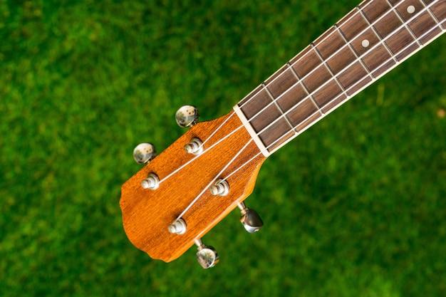 Drewniana Gitara Akustyczna Na Zielonym Tle Premium Zdjęcia