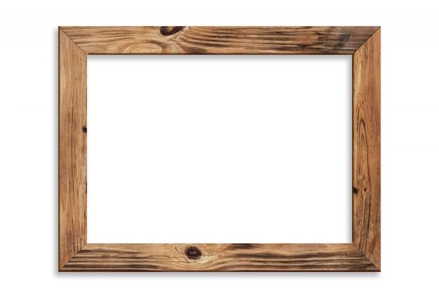 Drewniana Ramka Na Zdjęcia Na Białym Tle Premium Zdjęcia