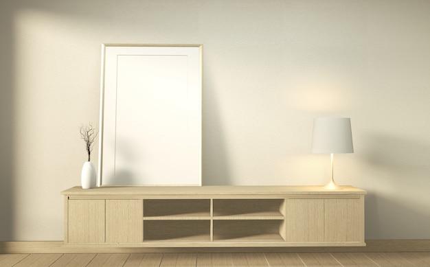 Drewniana Szafka W Nowoczesnym Pustym Pokoju W Stylu Japońskim - Zen, Minimalne Wzory. Renderowanie 3d Premium Zdjęcia
