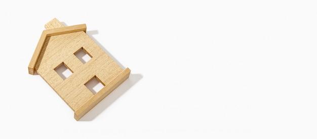 Drewniany Domu Model Na Białym Tle. Skopiuj Miejsce Premium Zdjęcia