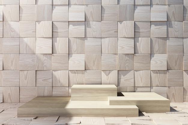 Drewniany Stojak Produktu Z Drewna Tle Premium Zdjęcia