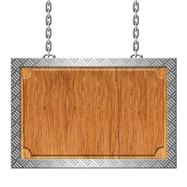 Drewniany znak ze stalowym obrzeżem płyty diamentowej na łańcuchach Premium Zdjęcia
