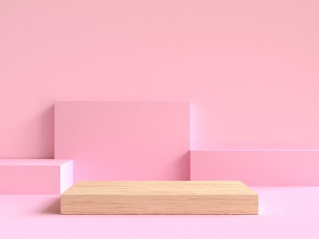 Drewno Na Podłogowym Minimalnym Abstrakcjonistycznym Geometrycznym Sceny Renderingu 3d Premium Zdjęcia