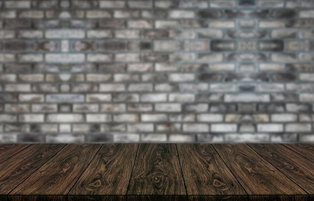Drewno Stół Przed ściana Z Cegieł Plamy Tłem. Premium Zdjęcia