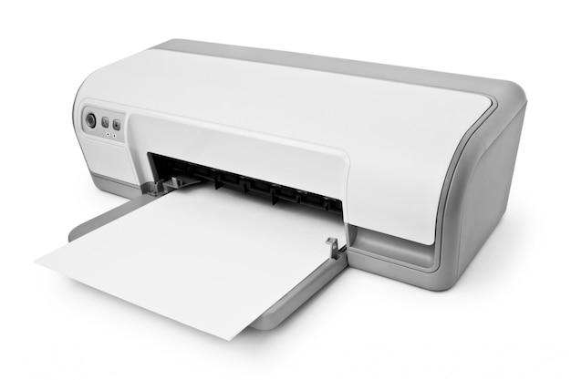 Drukarka Atramentowa Z Papieru Na Białym Tle Premium Zdjęcia