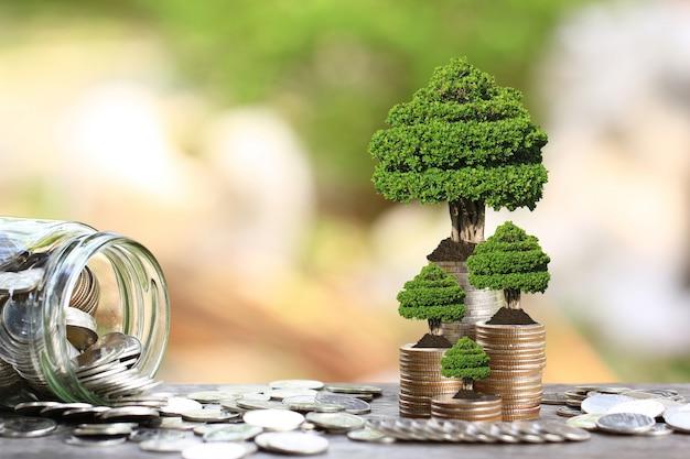 Drzewa rosnące na monety pieniądze i szklaną butelkę Premium Zdjęcia