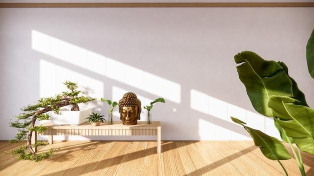Drzewo Bonsai Na Szafce Drewnianej Na ścianie W Stylu Pokoju Zen I Drewnianym Designie, Ton Ziemi. Premium Zdjęcia