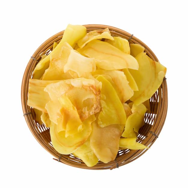 Durian Układy Scaleni Smażący Przekąski Owoc W Koszu, Durian Chrupiący Owocowi Układy Scaleni Odizolowywający Na Białym Tle Premium Zdjęcia