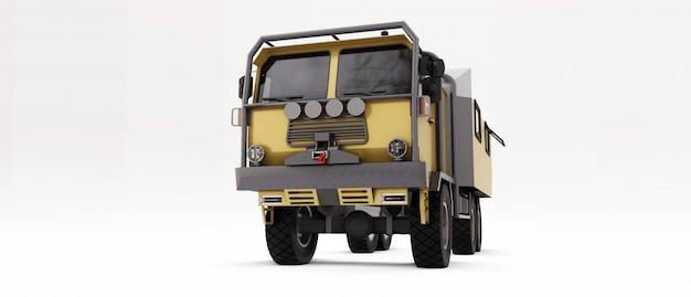 Duża Ciężarówka Przygotowana Na Długie I Trudne Wyprawy W Odległe Obszary. Ciężarówka Z Domem Na Kołach Premium Zdjęcia