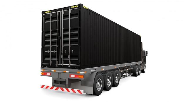 Duża Czarna Retro Ciężarówka Z Częścią Sypialną I Aerodynamicznym Przedłużeniem Przewozi Przyczepę Z Kontenerem Morskim Premium Zdjęcia