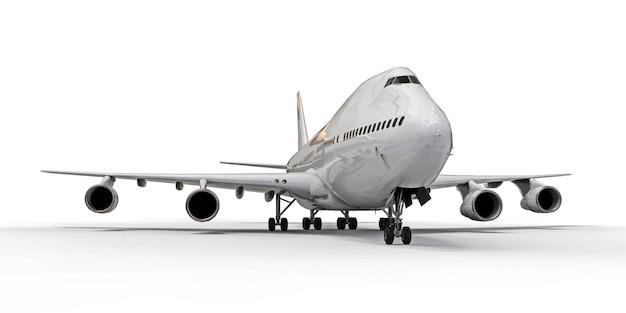 Duże Samoloty Pasażerskie O Dużej Pojemności Do Długich Lotów Transatlantyckich. Biały Samolot Na Białej Odosobnionej Powierzchni Premium Zdjęcia