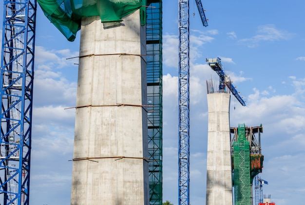Duży Plac Budowy Kolei I Stacji Pociągów Ekspresowych Premium Zdjęcia