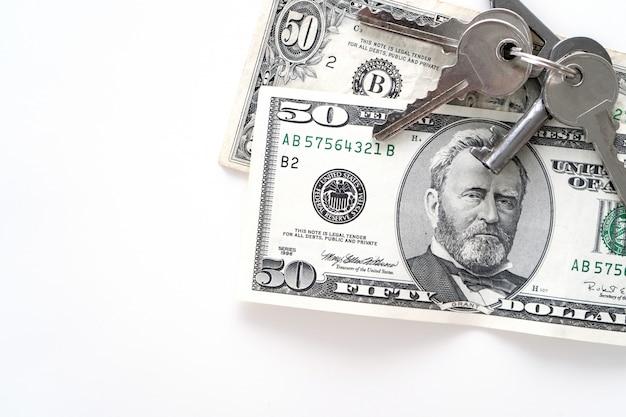 Dwa 50 Dolarów Banknotów Na Bielu. Premium Zdjęcia
