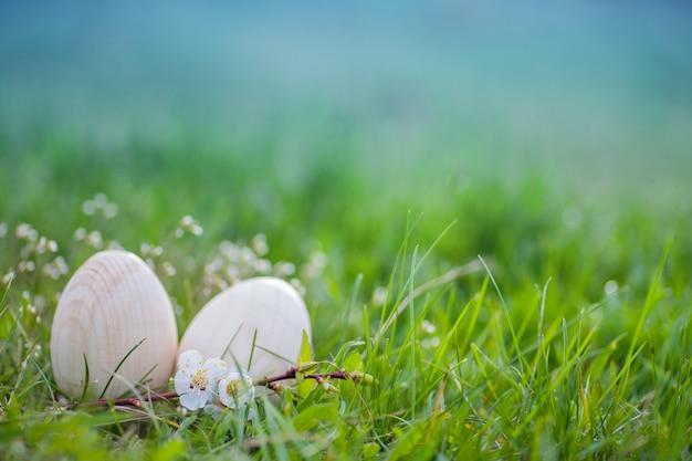 Dwa białego wielkanocnego jajka w zielonej trawie Premium Zdjęcia