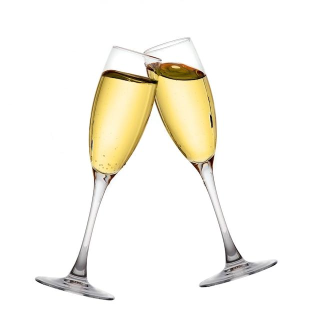 Dwa eleganckie kieliszki do szampana o wysokiej rozdzielczości obrazu Premium Zdjęcia