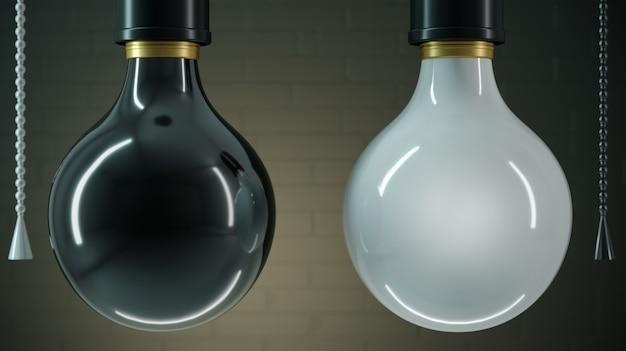 Dwie lampy czarno-białe Premium Zdjęcia