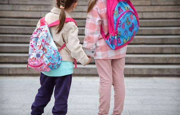 Dwie Małe Dziewczynki Z Pięknymi Plecakami Na Plecach Idą Razem Do Szkoły Ręka W Rękę Z Bliska. Koncepcja Przyjaźni Z Dzieciństwa. Darmowe Zdjęcia