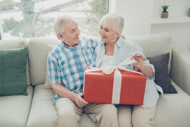 Dwie Miłe, Wesołe Babcie Otrzymujące Duży Romantyczny Prezent W Jasnobiałym Wnętrzu Domu Z Salonem Premium Zdjęcia