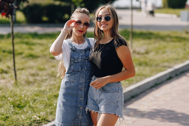 Dwie Młode ładne Dziewczyny Na Spacerze W Parku. Słoneczny Letni Dzień, Radość I Przyjaźnie. Darmowe Zdjęcia