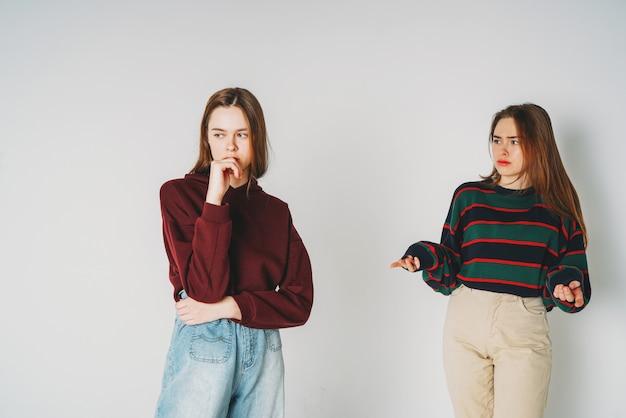 Dwie siostry bliźniaczki piękne dziewczyny biodrówki w odzieży casual Premium Zdjęcia