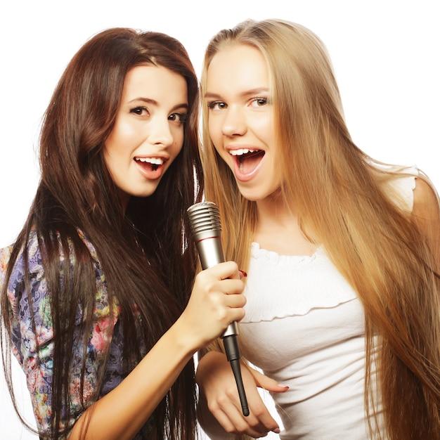 Dwie Urody Hipster Dziewczyny Z Mikrofonem śpiewa I Ma F. Premium Zdjęcia