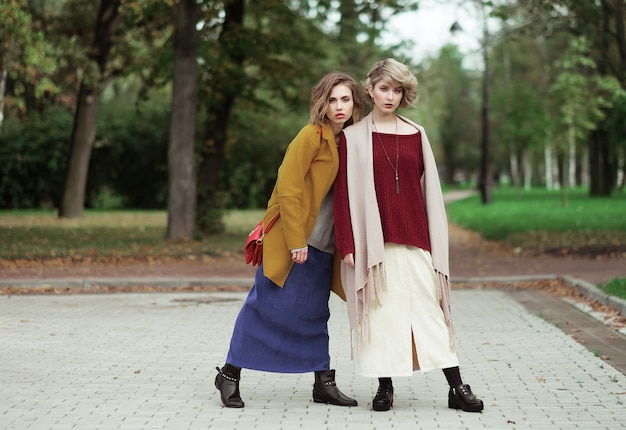 Dwie wesołe dziewczyny w parku jesień Premium Zdjęcia