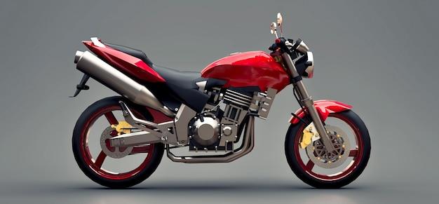 Dwumiejscowy Motocykl Czerwony Miejski Sport Na Szarym Tle. 3d Ilustracji. Premium Zdjęcia