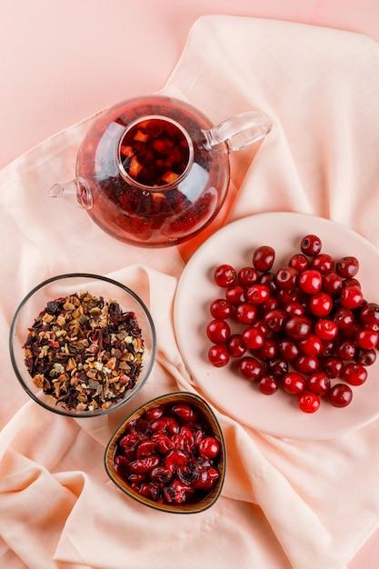 Dżem Wiśniowy Z Wiśniami, Herbatą, Suszonymi Ziołami W Misce Na Tkaninie I Różu Darmowe Zdjęcia