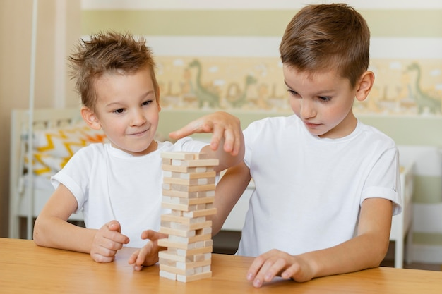 Dzieci Grają Razem W Grę W Drewnianą Wieżę Darmowe Zdjęcia