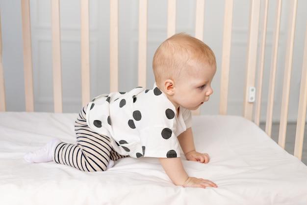 Dziecko 8 Miesięcy Chce Wyjść Z łóżeczka, Miejsce Na Tekst Premium Zdjęcia