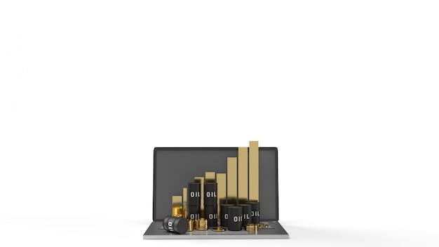 Dzięki Ropy I Wykres Na Laptopie Renderowania 3d Dla Zawartości Ropy Naftowej. Premium Zdjęcia