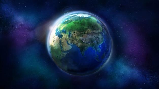 Dzień Połowa Ziemi Z Kosmosu Premium Zdjęcia