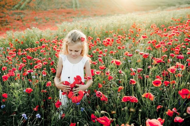 Dziewczyna patrzy na kwiaty maku Darmowe Zdjęcia