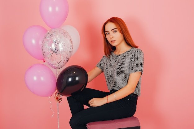 Dziewczyna Z Balonów Premium Zdjęcia