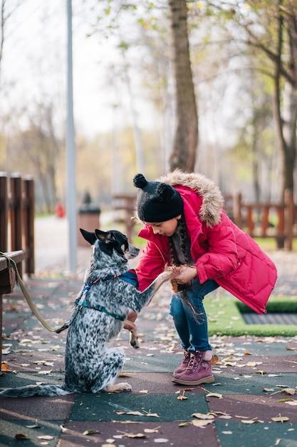 Dziewczyny Dziecko Bawić Się Z Psem W Jesień Pogodnym Parku Darmowe Zdjęcia