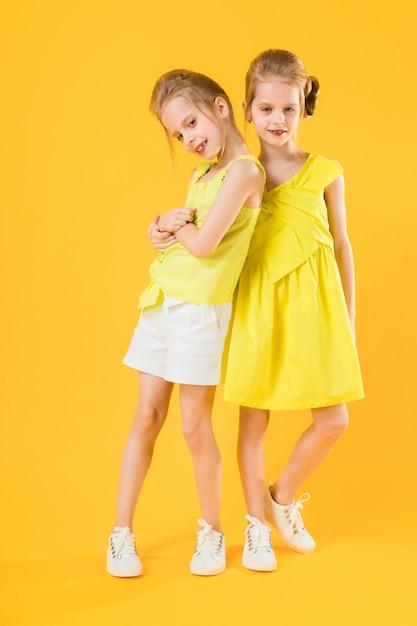 Dziewczyny z bliźniaków stoją razem Premium Zdjęcia