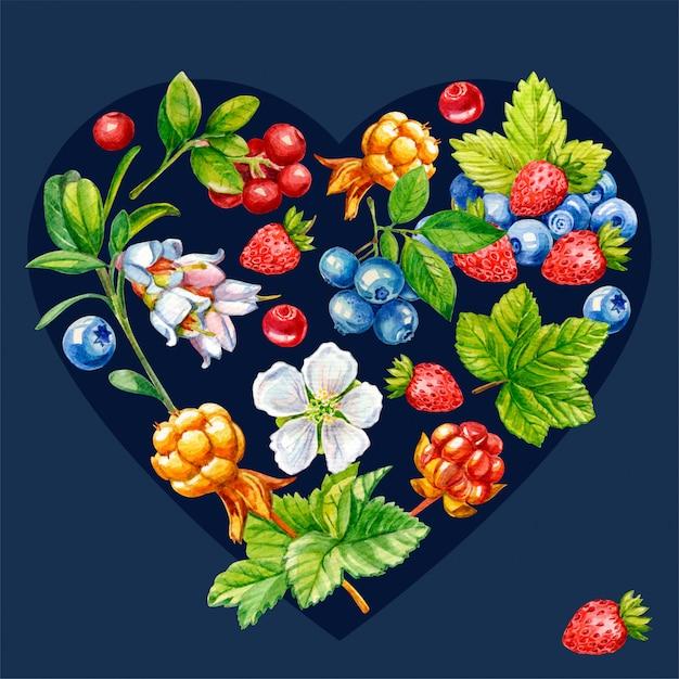 Dzikie jagody w kształcie serca na ciemnym tle Premium Zdjęcia