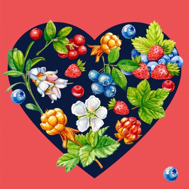 Dzikie jagody w kształcie serca Premium Zdjęcia