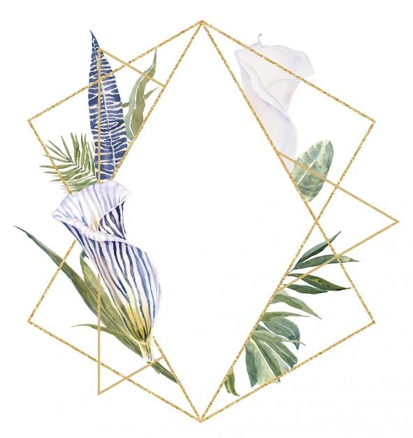 Dzikie Kwiaty Zwierzęce Odciski Skóry, Tropikalne Liście Rama. Zebra Druk Kwiaty Granicy Premium Zdjęcia