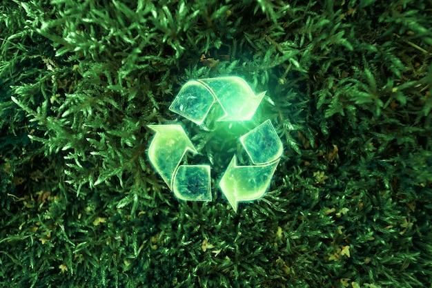 Eko Recykling Zielony Symbol. Pojęcie Czystej Ziemi, Wywóz śmieci. Premium Zdjęcia